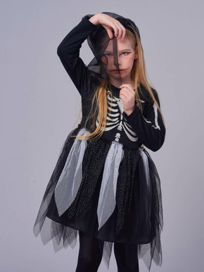 costume bimba scheletro Halloween