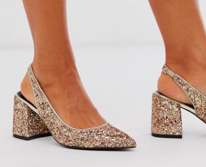 scarpa tacco basso glitter dorato