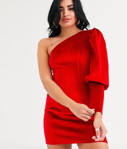 vestito rosso monospalla in velluto