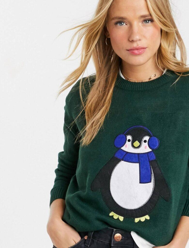 maglione con pinguino natale