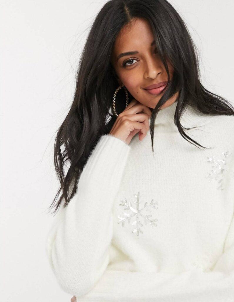 maglione donna con fiocchi di neve